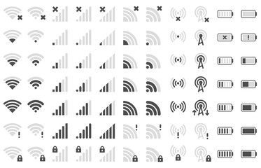 Mobile phone bar icons. Smartphone battery charge level, wifi signal strength icon and network connection levels pictogram vector set