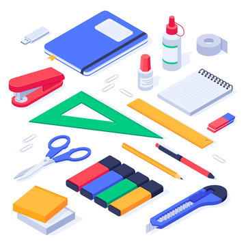 Isometric office supplies. School stationery tools, pencil eraser and pens 3d vector set