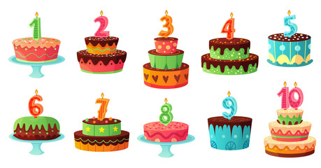 Cartoon birthday cake numbers candle. Anniversary candles, celebration party cakes vector illustration set