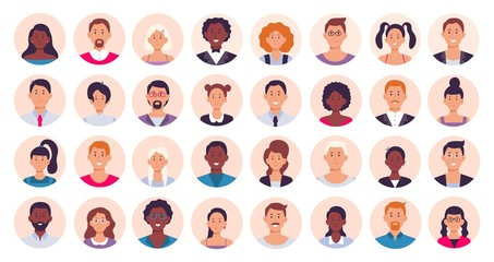 People avatar. Smiling human circle portrait, female and male person round avatars flat icon vector illustration collection Fototapete