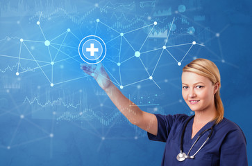 Doctor touching blue screen with virtual hospital concept