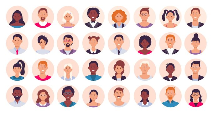 People avatar. Smiling human circle portrait, female and male person round avatars flat icon vector illustration collection