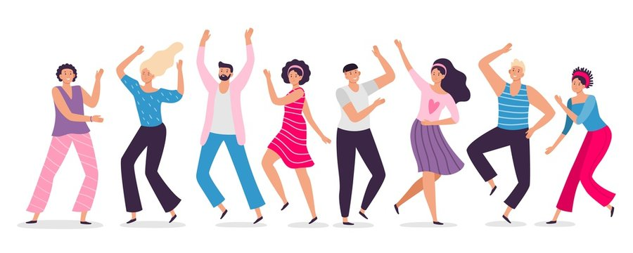 Happy dancing people. Friends dance, club female and male dancers flat vector illustration