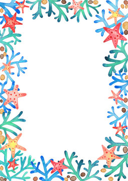 Starfish and coral reef watercolor hand painting on white background for decoration on summer holiday.