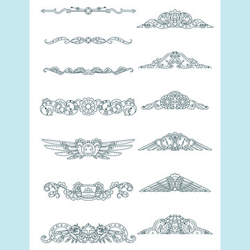 Vector calligraphic elements for design. Steampunk ornate wave elements, perfect for dividers, headers, titles. Hand drawn sketch mechanical clock, gear, birds, owls. Classic design