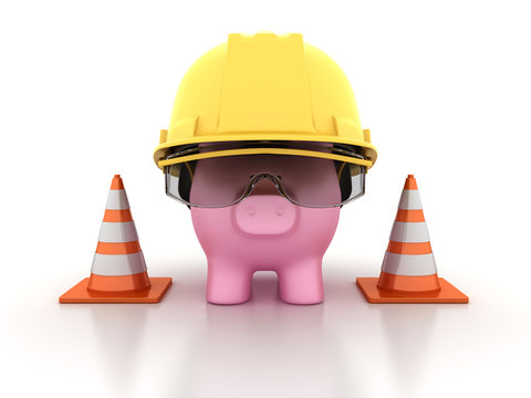Piggy Bank with Construction Helmet and Traffic Cones -  High Quality 3D Rendering