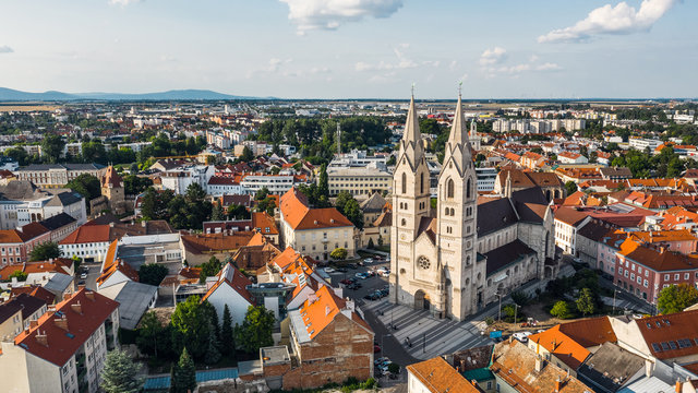 Aerial view of Wiener Neustadt Cathedral