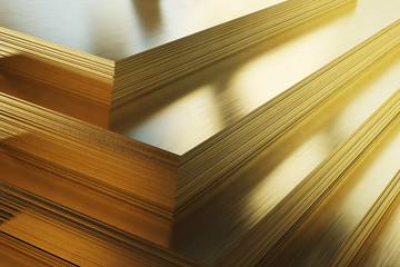 Brass sheets. Rolled metal product, close-up. 3d illustration.  Wall mural