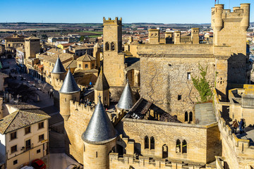Tower and walls of the Royal Palace of Olite, a medieval castle built in 13th century, Navarre, Spain