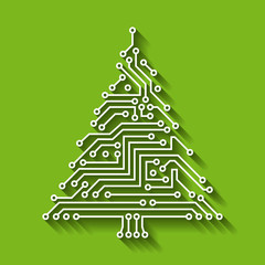 Electronic Circuit Christmas Tree, Happy New Year