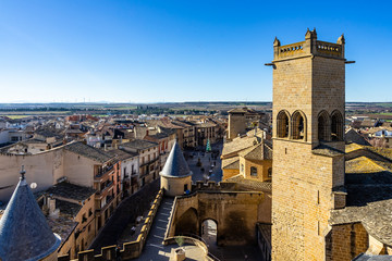 View of Olite, a small town in Navare region, famous for The Palacio Real de Olite, a fine Gothic castle built in 13th century, Spain