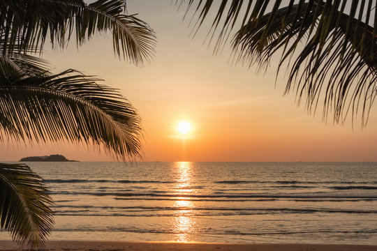 Sunset on a beautiful tropical beach in Thailand