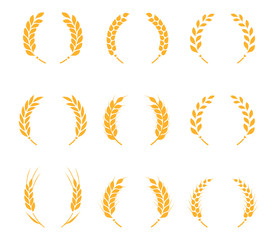 Collection of silhouette circular laurel foliate, wheat and oak wreaths depicting an award.