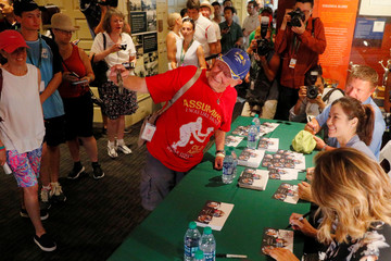 Mary Pierce of France, Li Na of China and Yevgeny Kafelnikov of Russia sign autographs and pose for pictures before being inducted in to the International Tennis Hall of Fame in Newport