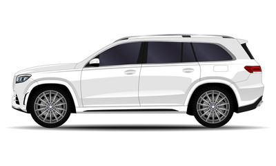 realistic SUV car. side view.