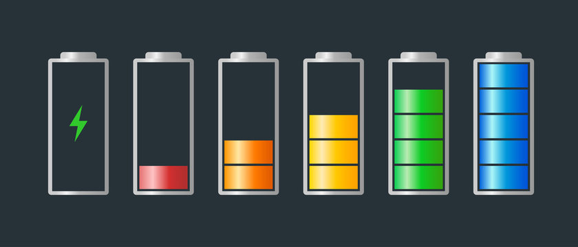 High to low power batteri charged energy indicator level set with recharging icon. Empty to full battery indicating red orange yellow blue step cylinder symbols. Vector batteries illustration