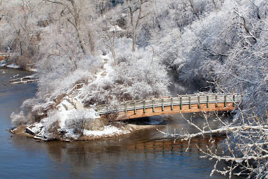Winter snow storm that flocked the trees, bridges, on the Mississippi River