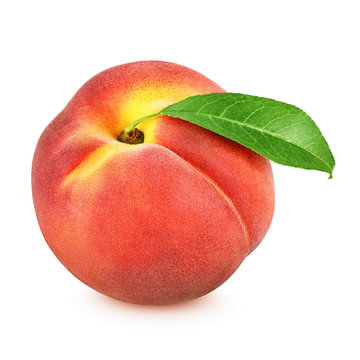 Red peach with leaf isolated on white background