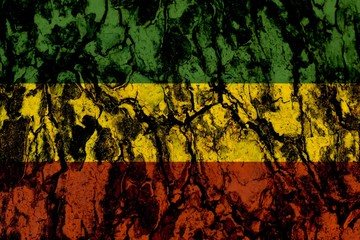 Green yellow red on wood texture background,reggae background concept