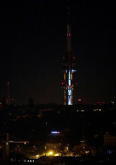 An image of the Saturn V rocket, which launched the Apollo 11 astronauts into space, is projected onto the Zizkov Television Tower to mark the 50th anniversary of the lunar mission, in Prague