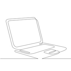 Continuous one line hand drawing computer laptop