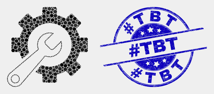 Dotted service tools mosaic icon and #Tbt stamp. Blue vector rounded distress seal stamp with #Tbt message. Vector combination in flat style. Black isolated service tools mosaic of random dots,