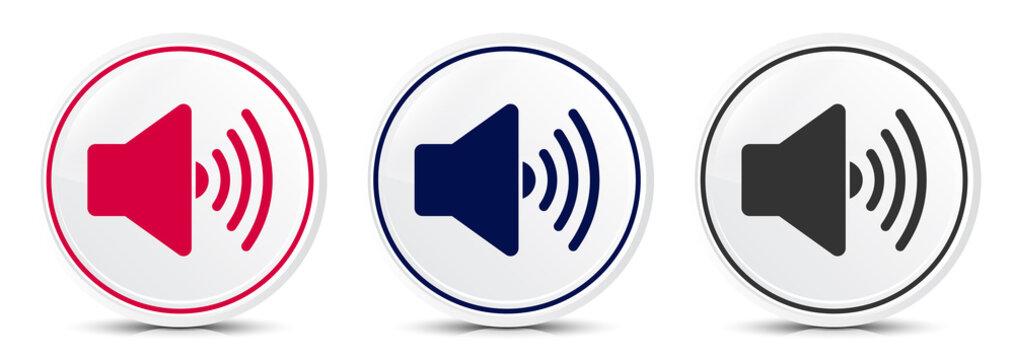 Volume speaker icon crystal flat round button set illustration design