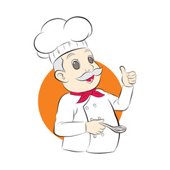 old cute chef show thumb finger and hold a spoon. vector illustration isolated cartoon hand drawn background.