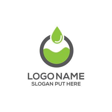 O letter organic oil drop logo