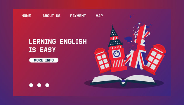 Learning English or travelling to Great Britain vector concept for web. British flag, Big Ben and telephone booth as symbols of England. Travel and learn english language webpage.
