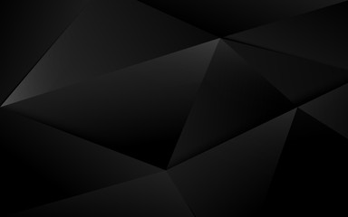 Wall Mural - Abstract black 3d chaotic polygonal surface background. Illustration vector