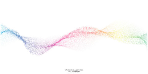 Abstract colorful dots particles flowing wavy isolated on white background. Vector illustration design elements in concept of technology, energy, science, music.
