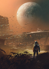 Foto op Aluminium Grandfailure astronaut looking at futuristic city in the planet, digital art style, illustration painting