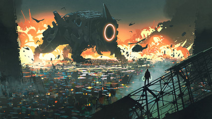 Zelfklevend Fotobehang Grandfailure sci-fi scene of the creature machine invading city, digital art style, illustration painting