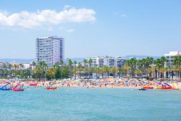 Levante beach in Salou Mediterranean of Spain. Travel, vacation in Costa Dourada.