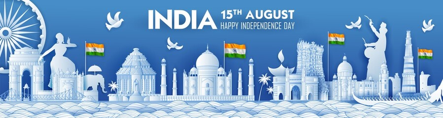 illustration of Famous Indian monument and Landmark for Happy Independence Day of India Wall mural