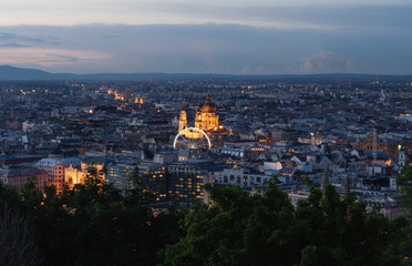 Wall Mural - Budapest city view in summer, in Hungary at twilight