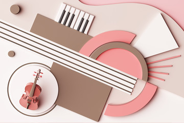 Violin and music instrument concept, Abstract composition of geometric shapes platforms in pastel pink tone. 3d rendering