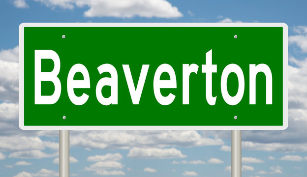 Rendering of a green highway sign for Beaverton Oregon