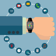Smart watch with icons vector concept