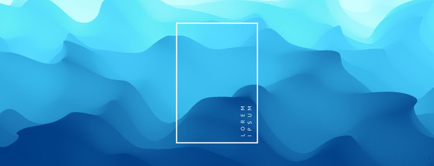 Blue abstract ocean seascape. Sea surface. Water waves. Nature background. Vector illustration for design. Fototapete