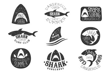 Dangerous Shark Surf Club Set Of Black And White Prints