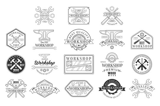 Wood Workshop Black And White Emblems. Classic Style Vector Monochrome Graphic Design Logo