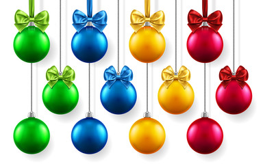 Christmas or new year realistic toys with bows hanging on chains. Merry christmas fir tree decorations, colored baubles with bow-knots, colored spheres for xmas holidays. Celebration theme
