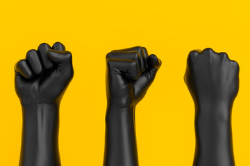 Black Hand Fist set isolated, human rights, protest, conflict or winner concept, 3d illustration
