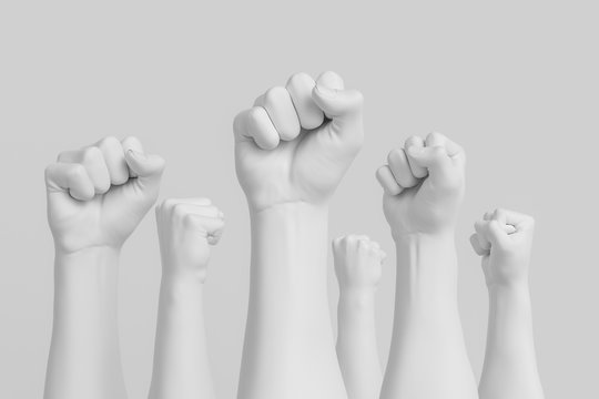 Fist in the air white background, revolution and protest concept, demanding crowd, 3d illustration
