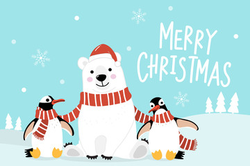 Merry Christmas greeting card with cute polar bear and penguins with red scarf. Arctic animal in winter costume cartoon character vector