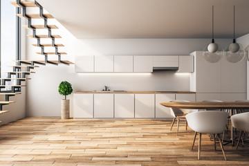 White loft kitchen interior