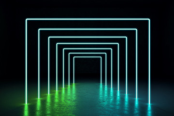Abstract green neon hall