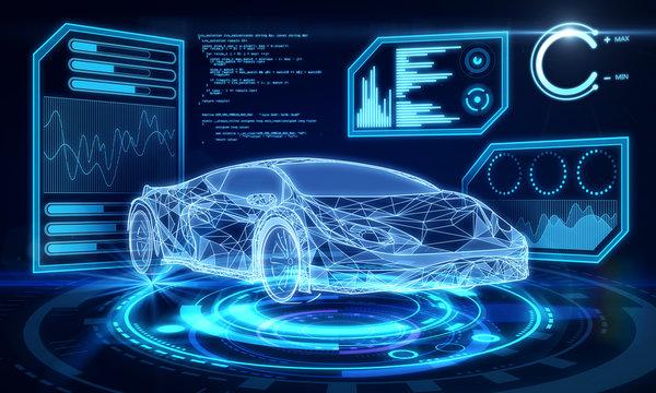 Creative blue car interface wallpaper